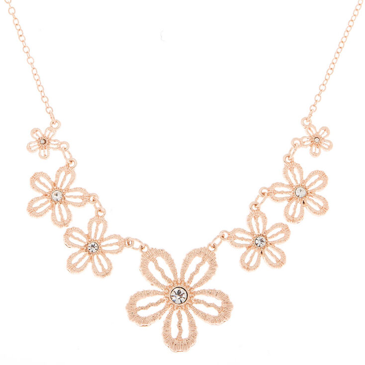 Rose Gold Crochet Flower Statement Necklace,