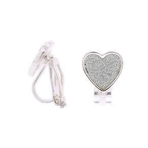 Silver Glitter Heart Clip On Stud Earrings,