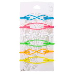 Neon Rainbow Geometric Hair Pins - 6 Pack,