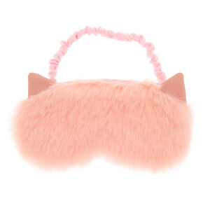 Pink Fur Cat Ears Sleeping Mask,