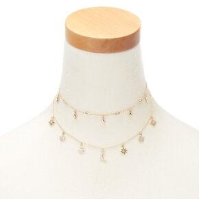 Gold Celestial Multi Strand Necklace,