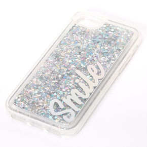 Smile Silver Glitter Liquid Fill Phone Case - Fits iPhone 6/7/8/SE,