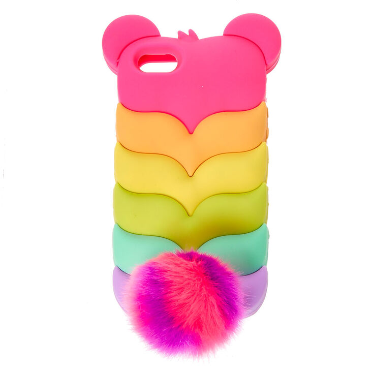 Rainbow Bear Pom Phone Case,