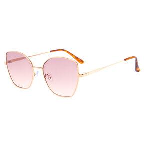 Square Cat Eye Sunglasses - Brown,