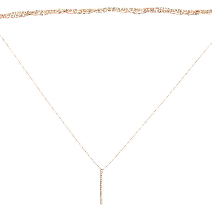 Rose Gold Glass Rhinestone Multi Strand Necklace,