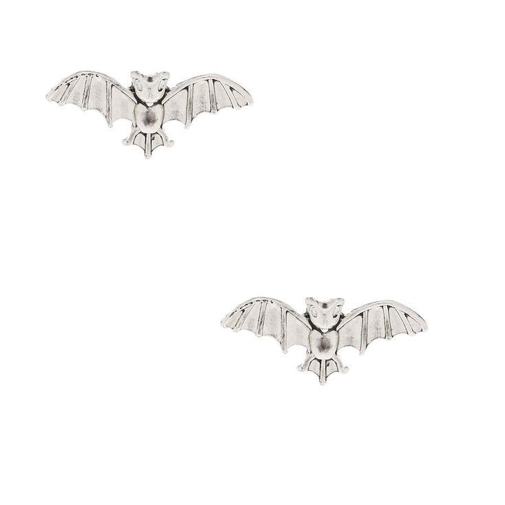 Silver Bat Stud Earrings,