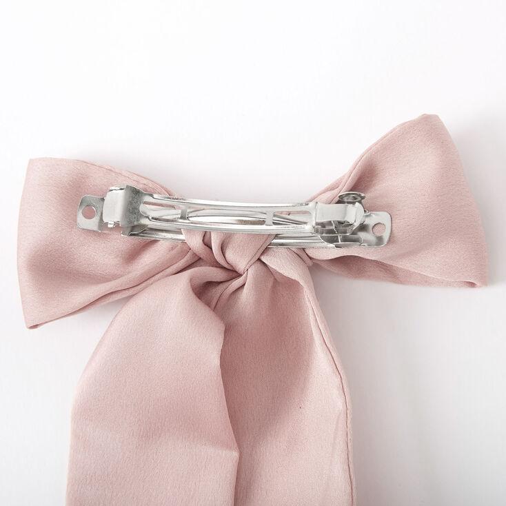 Satin Bow Hair Barrette - Blush Pink,