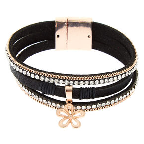 Embellished Flower Charm Wrap Bracelet - Black,