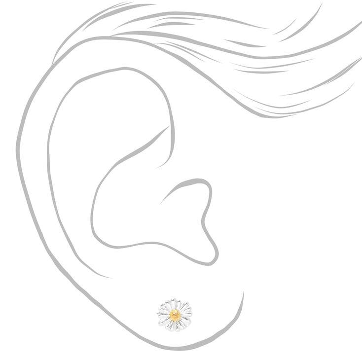 Sterling Silver & Gold Daisy Stud Earrings,