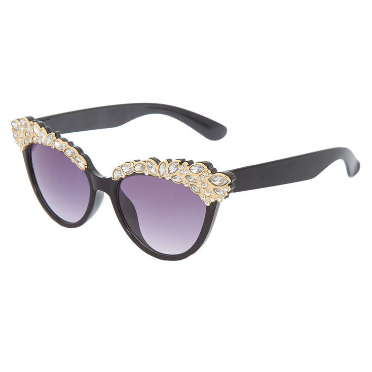 Embellished Cat Eye Sunglasses - Black,