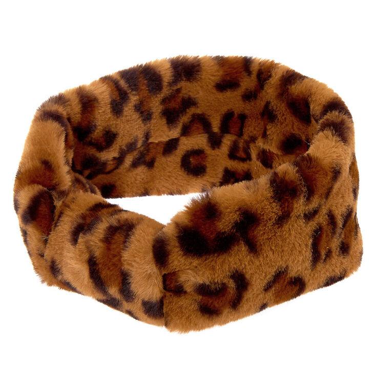Plush Leopard Ear Muff Headwrap,