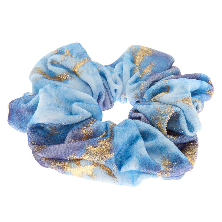 Medium Gold Marble Velvet Hair Scrunchie - Blue,