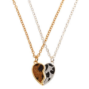 Mixed Metal Leopard Pendant Necklaces - 2 Pack,