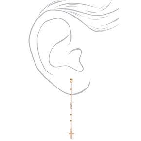 """Gold 3"""" Pearl Cross Drop Earrings,"""