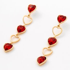 Gold Crystal Hearts Linear Drop Earrings - Red,