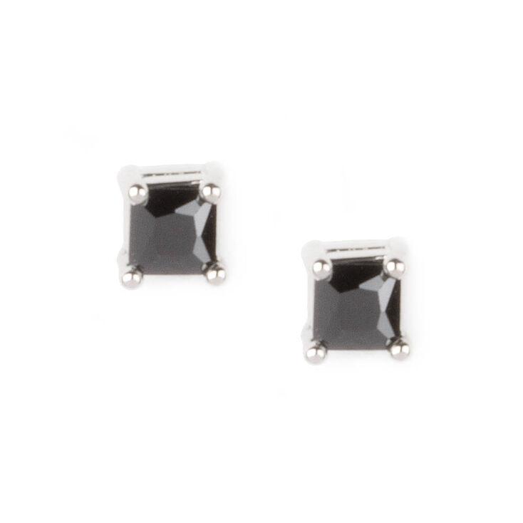3MM Black Cubic Zirconia Four Prong Set Square Stud Earrings,