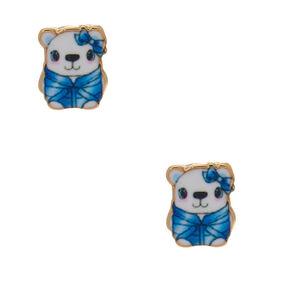 Sterling Silver Polar Bear Stud Earrings - Blue,