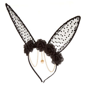 Floral Polka Dot Bunny Ears Headband - Black,