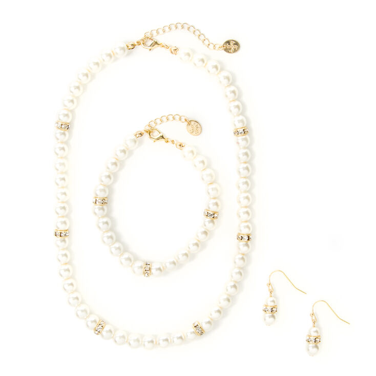 Pearl & Crystal Eternity Band Necklace, Bracelet & Drop Earrings Set of 3,