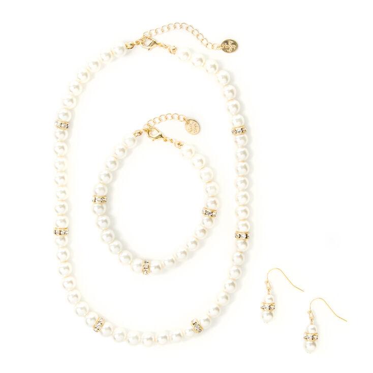Pearl & Crystal Eternity Band Necklace, Bracelet & Drop Earrings Set of 3,