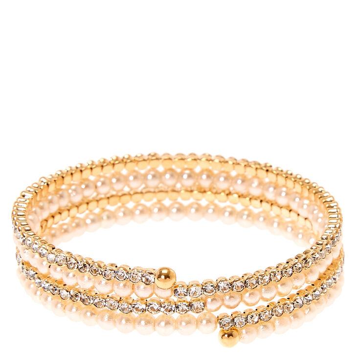 Gold Rhinestone & Pearl Wrap Bracelet,