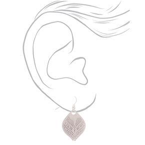 """Silver 1"""" Glitter Filigree Drop Earrings,"""