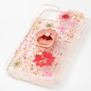 Coral Floral Gold Fleck Protective Phone Case with Ring Holder - Fits iPhone 11,