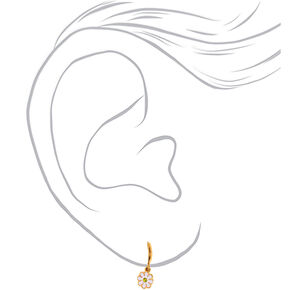18kt Gold Plated 10MM Daisy Charm Huggie Hoop Earrings,