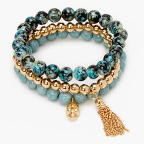 Skull Marble Beaded Stretch Bracelets - Bue, 3 Pack,