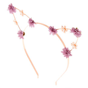 Rose Gold Flower Girl Cat Ears Headband - Lilac,
