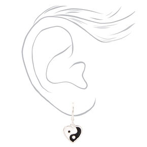 Silver Yin Yang Heart Jewelry Set - 2 Pack,
