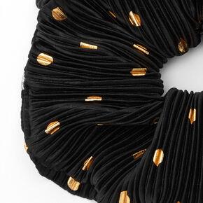 Giant Pleated Polka Dot Hair Scrunchie - Black,