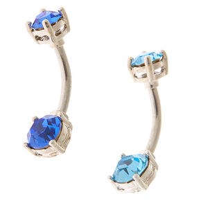 Silver 14G Cubic Zirconia Ocean Belly Rings - Blue, 2 Pack,