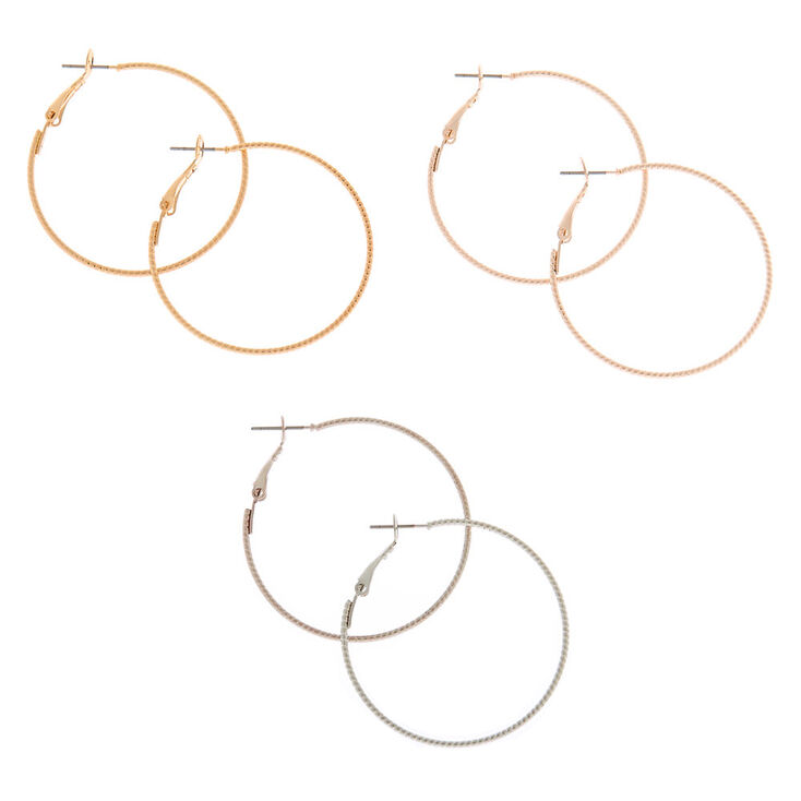 Mixed Metal 40MM Textured Hoop Earrings - 3 Pack,