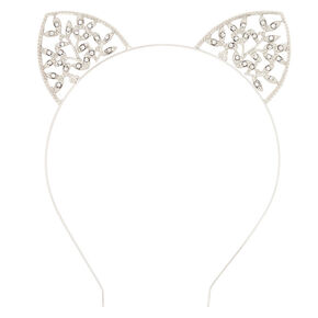 Silver Ivy Cat Ears Headband,