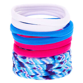 Tie Dye Retro Rolled Hair Ties - Blue, 10 Pack,