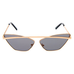 Slim Browbar Cat Eye Sunglasses - Black,
