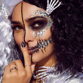 Halloween Black & White Crimped Wig,