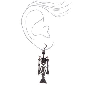 "Hematite 2"" Skeleton Mermaid Drop Earrings,"
