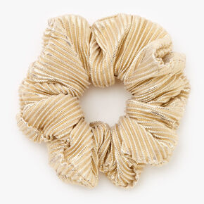 Medium Ribbed Shimmer Hair Scrunchie - Gold,