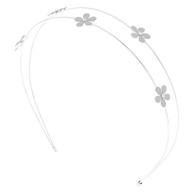 Silver Glitter Two Row Headband,