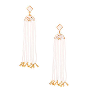 "Gold 3.5"" Bead Drop Earrings - White,"