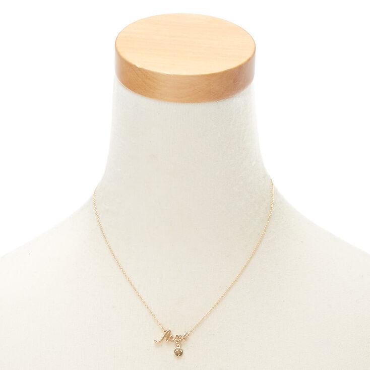 Gold Zodiac Pendant Necklace - Aries,