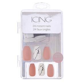 Blush & Marble Coffin Faux Nail Set - Pink, 24 Pack,