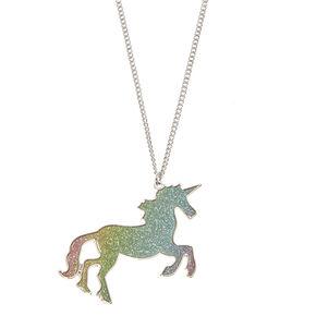Rainbow Glitter Unicorn Pendant Necklace,