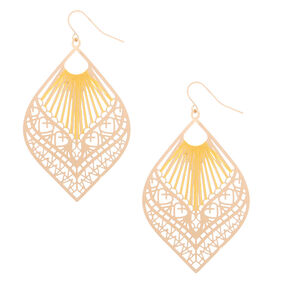 "Gold 2.5"" Filigree Threaded Drop Earrings - Yellow,"