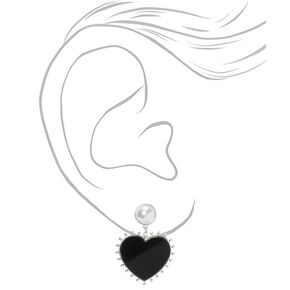 "Silver 1.5"" Heart Drop Earrings,"