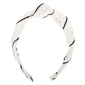 Striped Knotted Headband - White,
