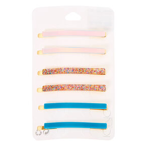 Holographic Rainbow Glitter Hair Pins - 6 Pack,