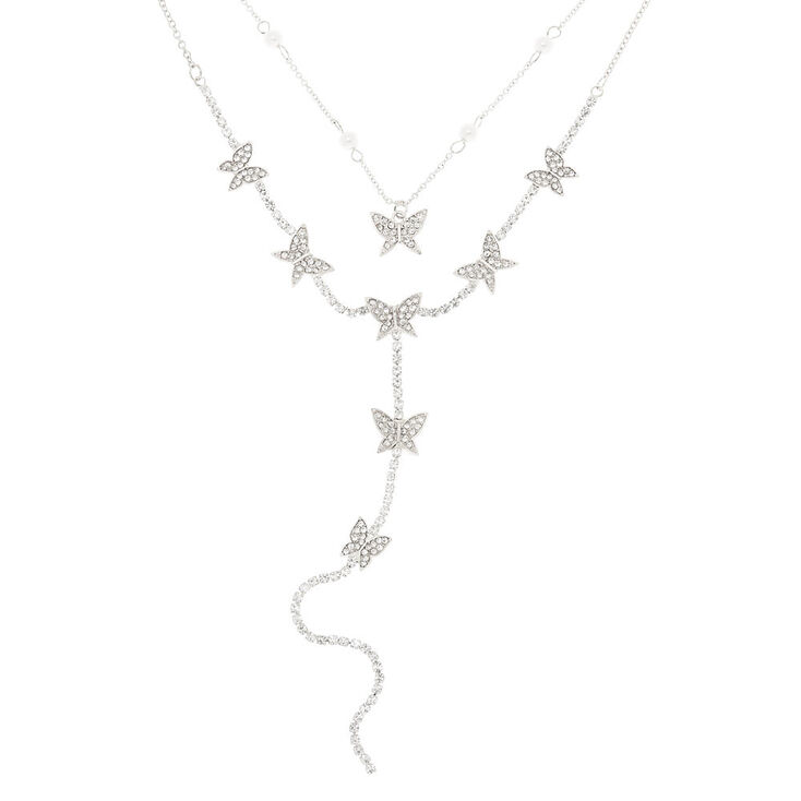 Silver Butterfly Multi Strand Choker Necklace,